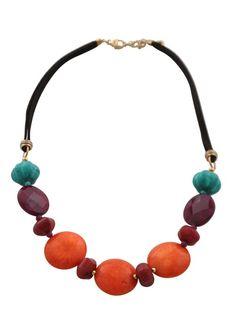 Vibrant Floral Genuine Stone Necklace