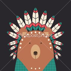 Indian bear with feathers — Illustration #47794151