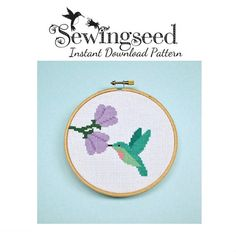 Hummingbird Cross Stitch Pattern Instant Download by Sewingseed, $5.00