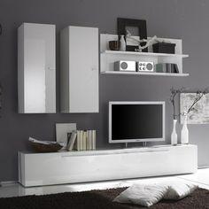 Wandmeubel Hobro Hoogglans wit - Moderne tv meubels - Tv meubel | Zen Lifestyle
