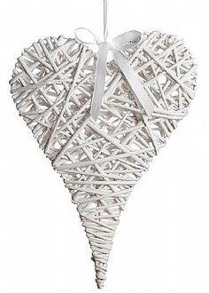 Wedding Scene - Διακοσμητική κρεμαστή καρδιά ψάθινη bamboo λευκή, 60x100 cm