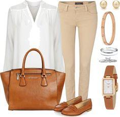 Andrea Moda y Asesoría: Blusa blanca Pantalón Kaki FW 15-16