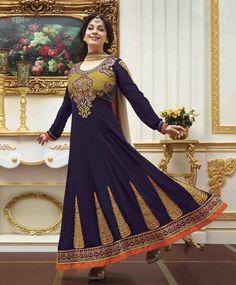 Juhi Chawla 2014 Dark Blue Anarkali with resham, patchwork. Buy online now | Anarkali Suit | Scoop.it