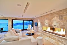 love the fireplace and the view