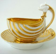 1810 Dagoty Paris Porcelain Dolphin Handled Shell Cup and Saucer - Hobbies paining body for kids and adult