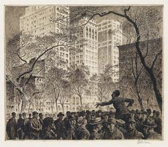 MARTIN LEWIS  The Orator, Madison Square.   Etching, sand ground and routlette printed in dark, brownish black on cream laid paper, 1916. 277x320 mm; 10 7/8x12 5/8 inches, full margins. Edition of approximately only 19. Signed in pencil, lower right. A superb, well-inked impression of this extremely scarce, early print.