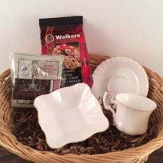 TEA Gift Basket, Birthday, Retirement, Housewarming, Tea Gift Basket: Vintage Royal Albert Cup and Saucer, Gourmet Teas, Walkers Shortbread