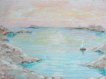 Meer Malerei, Landschaft, 17.7 x 13.5 cm, Acryl