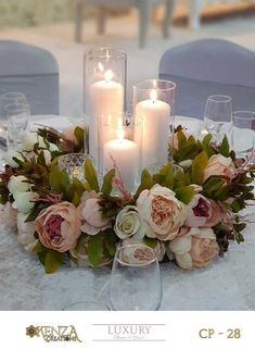 Centre piece 20 gorgeous tall wedding centerpieces for your big day Table Centre Pieces Wedding, Wedding Table Centres, Simple Wedding Centerpieces, Wedding Table Centerpieces, Flower Centerpieces, Reception Decorations, Rustic Centre Pieces, Floating Candle Centerpieces, Centrepieces