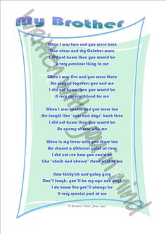 My Brother - a poem from a big sister written by Ronnie Wild