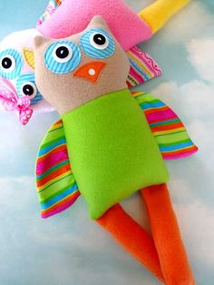 Olivia & Ollie Owls Sewing Pattern Download from e-PatternsCentral.com -- These adorable owl dolls are very easy to make!