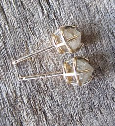 my kind of diamond earrings - white russians diamond stud in yellow eco gold by esmeraldadesigns