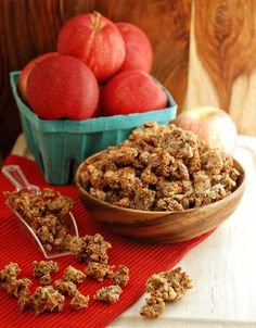 Apple Pie Paleo Granola, MultiplyDelicious (highly spiced nut-based granola that could also double as holiday nuts; a bunch of nuts and seeds, dates, shredded coconut, cinnamon, nutmeg, allspice, cloves, ginger, applesauce, coconut oil, maple syrup)   [Paleo]