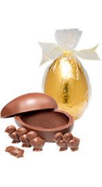 Chocolate egg with chocolate chicks inside