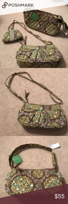 "2 PC✨Vera Bradley✨Bags Retired ""Sittin' in a Tree"" NWT shoulder bag measures approx 10"" X 6"" & crossbody, (used once) is 9 1/2"" X 5"". Clean inside and out. Vera Bradley Bags"