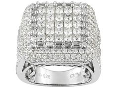 Bella Luce (R) 7.00ctw Rhodium Plated Sterling Silver Ring