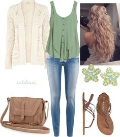 Cute Spring Summer Beach Outfit, Beach Outfits, Love it! Especially top shape with buttons and off-center pleats, sweater detail, and color/texture combo. Pants too light though. I prefer dangly ear. Urban Chic, Cute Spring Outfits, Cute Outfits, Fall Beach Outfits, Polyvore Outfits, Polyvore Fashion, Look Fashion, Fashion Outfits, Womens Fashion