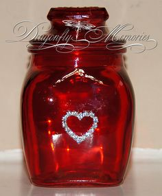 Red jar with heart - $6
