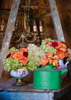 Roses and hydrangeas. Rustic chic