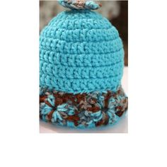 Turquoise and Brown Baby Granny Square Hat   Turquoise Hat