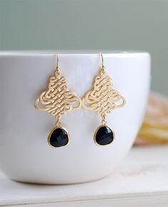 Gold Oriental Filigree Knot Pendant Jet Black Teardrop by LeChaim