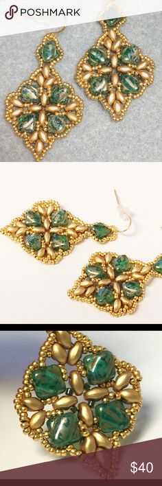 Beadwork chandelier earrings green and gold Handmade new-Green and gold beadwork chandelier dangle earrings Jewelry Earrings