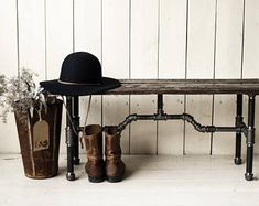 THE TATER | Bench made from Reclaimed Ontario Potato Crate Wood and Black Pipe
