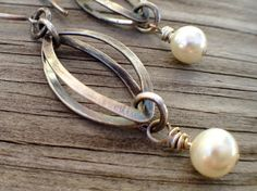 Silver Filled and Swarovski Pearl Earrings by twochickstoo on Etsy
