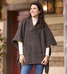 Irish Wool Poncho Sweater features a variety of Aran stitching in 100% Merino wool