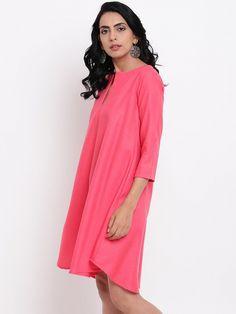 Pink Anti Fit Linen Cotton pocket Dress Embroidery On Kurtis, Kurti Embroidery Design, Gray Dress, Pink Dress, Kurta With Pants, Luxury Fashion, Womens Fashion, Saree Dress, Maxis