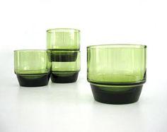 Vintage Rocks Low Ball Glasses, Retro Mod Bar Glass Set, Weighted Bottom, Avocado Green, Short Tumbler Stackable, 1970s Barware
