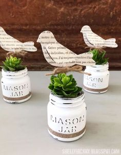 Country Crafts to Make And Sell - DecoArt Chalk Paint Mini Mason Jar Planters - Easy DIY Home Decor and Rustic Craft Ideas - Step by Step Farmhouse Decor To Make and Sell on Etsy and at Craft Fairs - Tutorials and Instructions for Creative Ways to Make Money - Best Vintage Farmhouse DIY For Living Room, Bedroom, Walls and Gifts http://diyjoy.com/country-crafts-to-make-and-sell