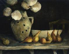 Bouquet blanc et poires en rang. Bénédicte Garnier-Fihey  Oil on canvas