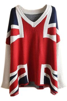 ROMWE | Batwing Sleeves Union Jack Pattern Jumper, The Latest Street Fashion - Love This !