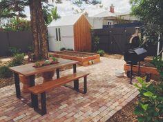Brunswick landscape. Recycled brick paving. Wicking veggie boxes. Custom shed. Custom cubby house