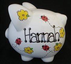 Personalized Piggy Bank  Ladybug with Yellow Flowers by Dizigns, $23.00