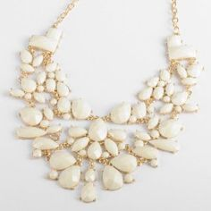 Amazon.com: Fashion Gold Chain White Water Drop Resin Beads Hollow Pendant Statement Necklace: Jewelry