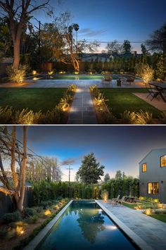 A landscaped backyard with a 50 foot swimming pool. Custom Canes, Tile Accent Wall, Dark Grey Walls, Wide Plank Flooring, Wood Stairs, Modern Farmhouse Style, Studio City, Sliding Glass Door, Inspired Homes