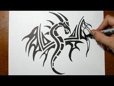 11c4f24c0d696 Drawing a Tribal Fleur De Lis Tattoo Design - YouTube Dragon Tattoo Sketch,  Dragon Tattoo