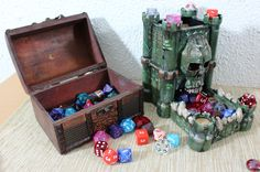 """printed """"The Tower of Fate"""" dice tower Dice Tower, Fantasy Miniatures, Warhammer Fantasy, 3d Prints, Board Games, Printer, Decorative Boxes, Geek Stuff, Geek Things"""
