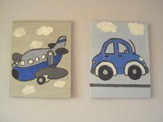 Jongens schilderij twee luik. per schilderijtje 30 x 40 cm.