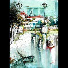 """Clarke Quay, Singapore"" 02Jul2015 54x41cm Mixed media  #tilenti #tilen #theartcommunity #watercolor #watercolour  #watercolours #watercolors #painting #paintings #splattered #drip #dripped  #artfido #art #_tebo_ #artists_magazine #spotlightonartists #arts_help  #worldoftalents  #art_spy #art4youu #shaded_canvas #art_spotlight #aartistic_dreamers #art_worldly #worldoftartists #singapore"