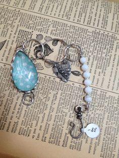 Blue+Polka+Dot+Vintage+Chandelier+Crystal+Bracelet+by+TheRustyOwls,+$38.00