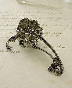 Silver Ring Art Nouveau jewelry Poppy by chloesvintagejewelry