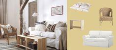 EKTORP 2-zitsbank met hoes in Blekinge wit, AGEN rotanstoel en RAST nachttafeltjes als salontafel