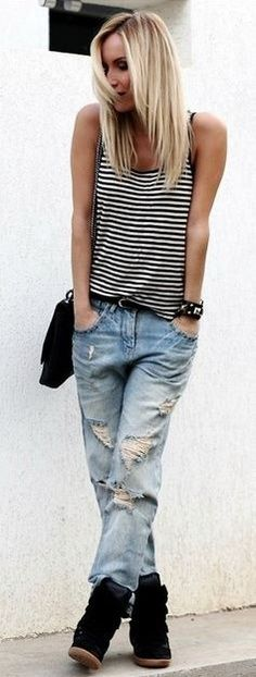 love stripes and destroyed denim.  love the haircut, too!