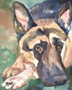 German Shepherd watercolor portrait