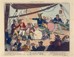 A Scene on board a Margate Hoy as described by Dibdin (caricature) - National Maritime Museum