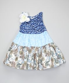 Blue Paisley & Blueberry Tiered Dress - Toddler & Girls | zulily