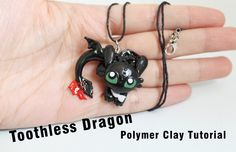 Toothless Night Fury Dragon Pendant Polymer Clay Tutorial (How to train ...